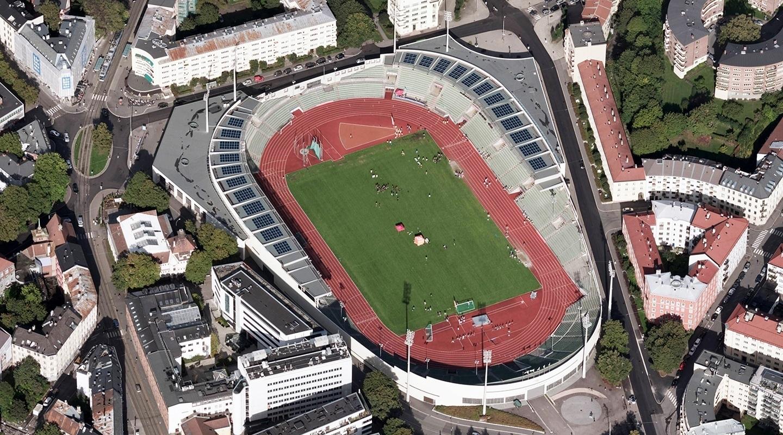Bislett stadion var Norges første idrettsarena med solceller på taket og har også et batteri som lagrer strøm til bruk om natta