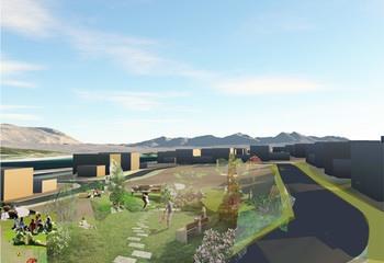 Asplan Viak har levert løsningsforslag til en ny bydel i Tromsø / Gode naboskapsrom og naturlige møteplasser er viktig grunnlag for å skape et godt bomiljø. Illustrasjon: Asplan Viak.