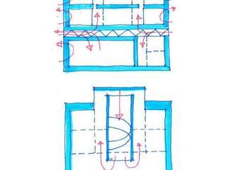 Stor interesse for kurs om lavteknologiske løsninger for ventilasjon /  Tidlig skisse av ventilasjonsprinsipp for Campus Evenstad. Arkitekt; Ola Roald