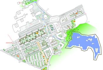 Nøkkelen til kompleks byutvikling / Illustrasjonsplan Knarvik. Illustrasjon: Asplan Viak