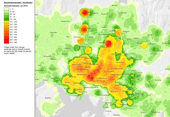 Asplan Viak har kartlagt Oslo-studentenes bosettingsmønster; Studenten viktig for byutviklingen / Bostedsmønster, studenter / Illustrasjon: Asplan Viak