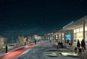 Neste stopp Hønefoss 2030 / Stasjonen danner grunnlaget for veksten og byutviklingen og blir byens naturlige senter. illustrasjon: Asplan Viak