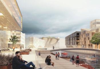 «Fra containerhavn til havneby» / Dokkparken. Illustrasjon: Asplan Viak.