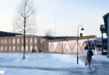 Klimanøytralitet - veien til nullmålet / Statsbygg bygger et nytt administrasjons- og undervisningsbygg på Campus Evenstad, Høgskolen i Hedmark. Nybygget vil være det mest klimavennlige bygget i Norge ved ferdigstillelse i år, og det første nullutslippsbygget som oppnår såkalt ZEB-COM nivå. Det vil si at bygningens produksjon av fornybar energi vil kompensere for bygningens utslipp både i oppføringen, fra produksjon av materialer og drift i levetiden til bygget. Illustrasjon: Ola Roald AS Arkitektur