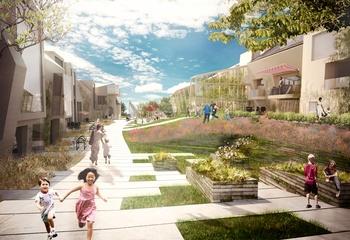 Asplan Viak går ZEN – veien til nullutslippssamfunnet / Illustrasjon av Zero Village Bergen som utvikles av ByBo AS. Illustrasjon: Snøhetta