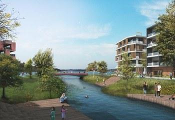 1 500 båtplasser eller 1 300 boliger i Bestumkilen?  / Parkallmenningen. Illustrasjon: Asplan Viak