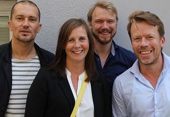 - Mer blått i det grønne skiftet / Fra venstre Giambattista Zaccariotto, Janicke Ramfjord Egeberg, Kim Haukeland Paus og Rune Skeie. Foto: Hanne Jonassen