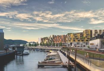 Asplan Viak planlegger Trondheims nye kollektivknutepunkt / Fra Brattørbrua. Illustrasjon: Asplan Viak / Arkiplan