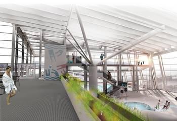 Digitaliserer stålet – sparer millioner / Pirbadet interiør uten akvarium. Illustrasjon: Asplan Viak