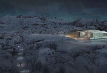 Asplan Viak på vinnerlaget i konkurransen SKREI temapark i Lofoten / Illustrasjon: LPO Arkitekter