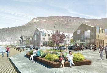Den urbane fjordlandsbyen Sandane / Havnen. Illustrasjon: Asplan viak og Haugen/Zohar