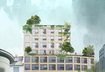 Byøkologi i sentrum - HABITAT HAUS / Økende etterspørsel etter grønne byboliger med individuell standard. Habitat Haus fra Maridalsveien. Illustrasjon: Asplan Viak