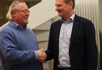 Asplan Viak kjøper PABAS / Daglig leder i PABAS, Ketil Bakkejord (t.v.) og administrerende direktør i Asplan Viak AS, Øyvind Mork har inngått avtale om oppkjøp.