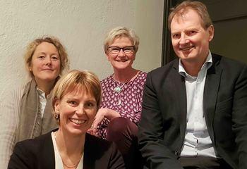 Asplan Viak med tidenes beste resultat / Fra venstre: Lise Eriksen (Leder Plan og Arkitektur), Randi Svånå (Konstiutert leder Bygg og Infrastruktur), Margaret Ohldieck (Leder Økonomi) og Øyvind Mork (Administrerende direktør).