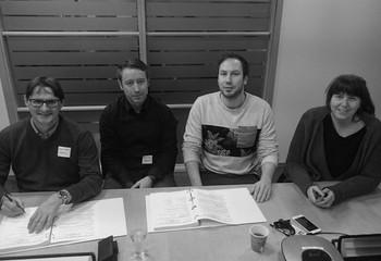 Asplan Viak vant kontrakt med Bane NOR / Fra kontraktsmøte. Fra venstre: Dag Hveding (Asplan Viak), Raymond Siiri (Asplan Viak), Christian Nielsen (Bane NOR) og Vibeke Aarnes (Bane NOR)