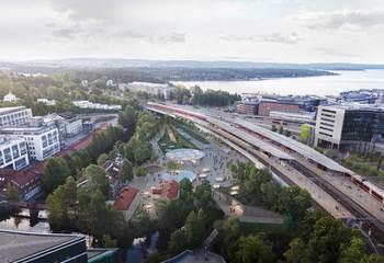 Asplan Viak, Arup og Longva arkitekter skal utforme ny T-banestasjon på Lysaker / Løsningen for Lysaker stasjon bæres av en overordnet idé om å skape ett samlende og identitetssterkt sted. Illustrasjon: Arup, Longva arkitekter og Asplan Viak.