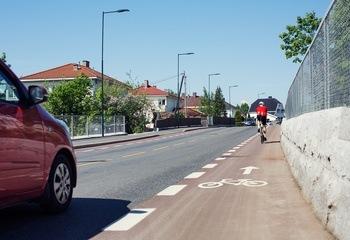 Sykkelfelt i Ekebergveien