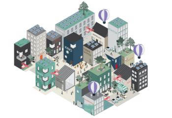 Hamar 2074 - scenarioer for byutvikling / Det er laget ulike illustrasjoner som skal hjelpe leseren med å forestille seg de fire scenarioene. Illustrasjon: Asplan Viak.