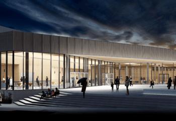 Torget i Aukra – nytt kulturhus og badeanlegg til Asplan Viak  / Illustrasjon: Asplan Viak