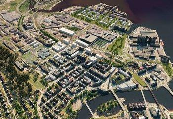 Asplan Viak jobber med parallelloppdrag for å utvikle Steinkjer sentrum / Illustrasjon: Foreløpig 3D-modell. Asplan Viak.