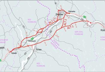 Asplan Viak og Rambøll landet stor E16-kontrakt hos Nye Veier / Kartet viser området hvor det skal lages kommunedelplan for ny E16 fra E6 og til Kongsvinger. Illustrasjon: Nye Veier