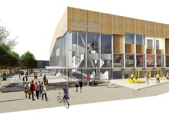 Byggingen av Manglerud bad i gang / Manglerud bad og aktivitetshus blir en samlokalisering av et nytt folkebad, Oslo kulturskole og Manglerud ungdomshus. Illustrasjon: Asplan Viak