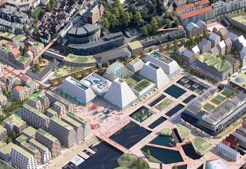 Asplan Viaks planer for Dokken i Bergen: Vil bygge øyrike og flytte Akvariet / Akvariet er tenkt som hjertet i den nye bydelen Dokken. Illustrasjon: Asplan Viak og Mad arkitekter